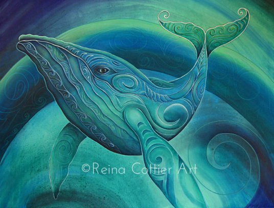 Whale painting , acrylic on canvas by Reina Cottier