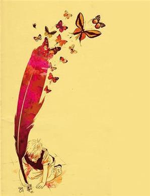 imagem de uma pena com borboletas saindo