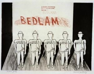 David Hockney, Bedlam from A Rake's Progress Portfolio. On loan from Whitworth Art Gallery © the artist. Whitworth Gallery, U of Manchester, gifted through the Contemporary Art Society