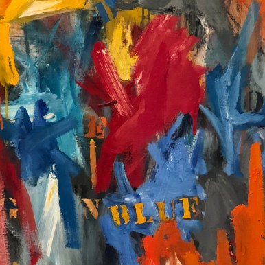 Detail from Jasper Johns, False Start, 1959, The Broad, Los Angeles