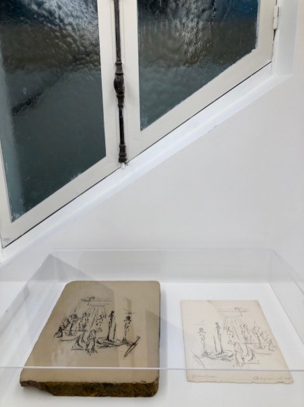 Lithographic stone with Giacometti drawing, Fondation Giacometti, Paris