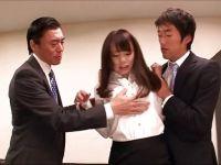 会社の上司二人にパワハラされ手首を縛られ無理矢理犯されちゃう美巨乳な美女のレイプ動画