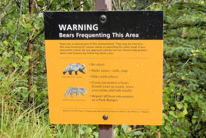 Denali National Park,  waarschuwing beren, Alaska