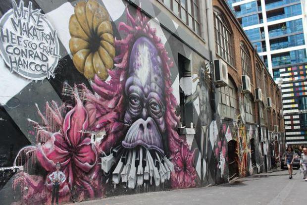 Graffiti Backpacker Rucksack Ausflug