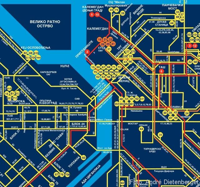 Belgrad - Straßenbahn Linien Zone 1
