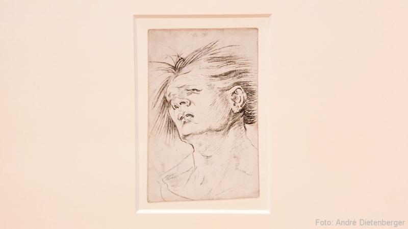 Zurückgeneigter, schmerzverzerrter Männerkopf (um 1516)