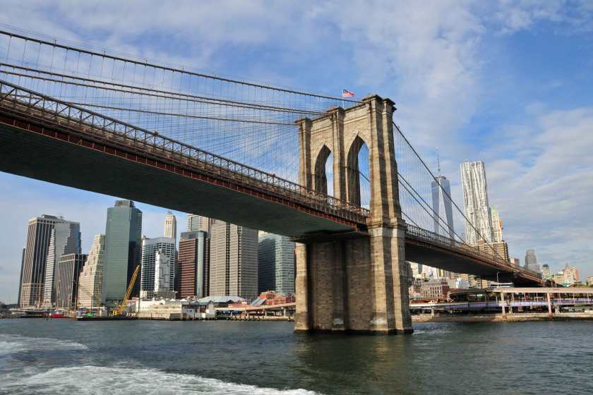 Brooklinbridge und Skyline von new York