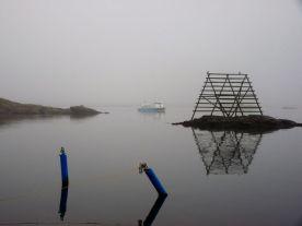 Stimmungsvoller Nebel in Fiskebäcksil. Und gleich gehts in die Sauna...
