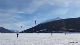 Vinschgau. Snowkite-Wettbewerb Rechensee. Kura