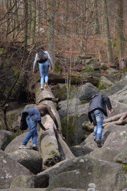 Menschen auf liegendem Baumstamm