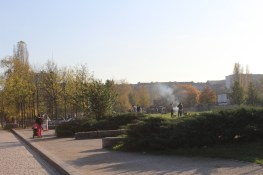 Abgrillen in Berlin Mauerpark, goldener November