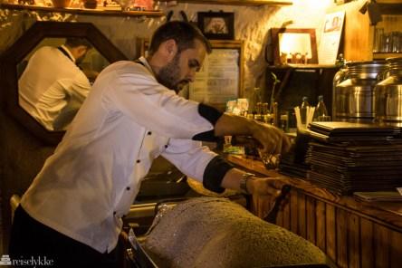 Saltbakt svin på restaurant Vega