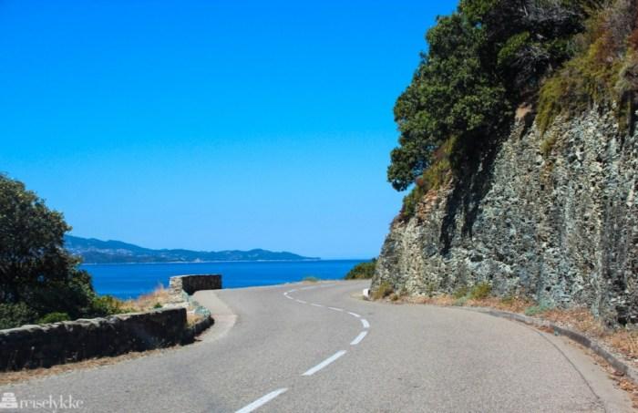 En av mange svingete veier på Korsika