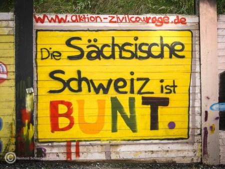 Die Welt ist nicht nur bunt, sondern treibt auch bunte Blüten. Interessant, dass dieser Slogan schon 2012 eine sächsische Wand zierte.