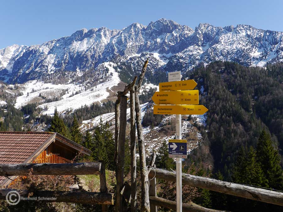 Im Hintergrund der Ende März noch schneebedeckte Wilde Kaiser