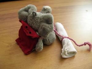 Mr. Ganesh mit seinem Rucksack und seiner Decke