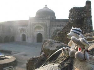 Herr Eisbaer und Mister Ganesh vor einem unbedeutenden Tempel