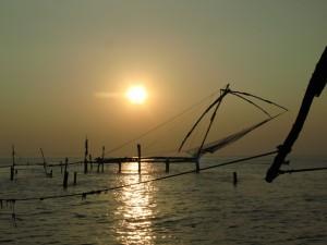 Fischernetz mit Sonnenuntergang