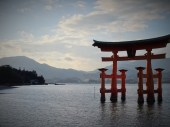 Itsukushima shrine on the island Miyajima, one of the most important ones in Japan and reached by boat only in former times.