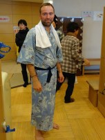 Getting ready for the hot sand bath in a yukata