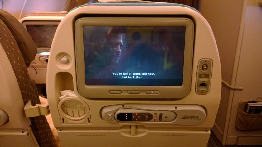 Entertainment System in der Economy Class bei Singapore Airlines.