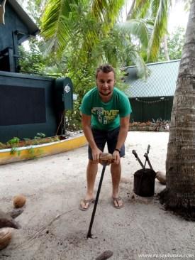 tägliches Ritual: Kokosnuss öffnen