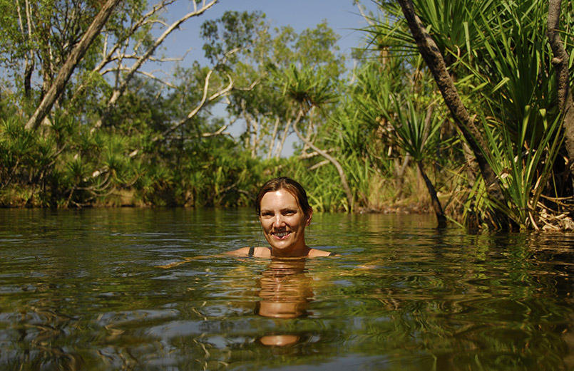 Baden im Outback - einfach herrlich. Zum Beispiel in den Lower Leliyn Falls im Nitmiluk National Park
