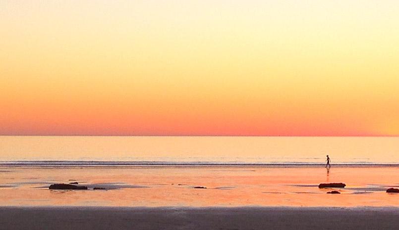 Sonnenuntergang in Broome am Indischen Ozean