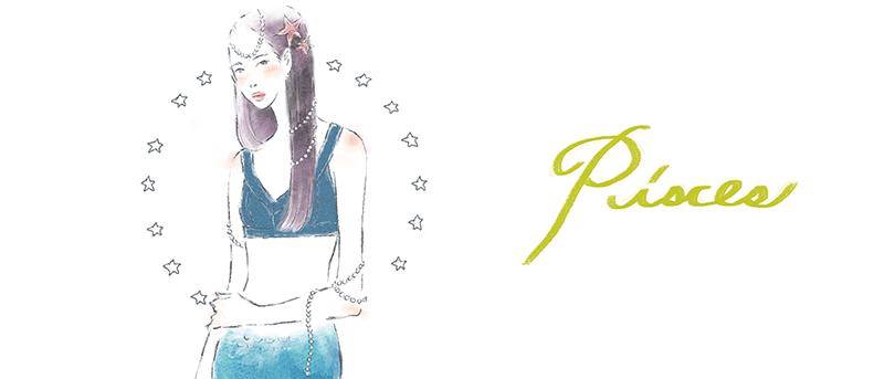 12星座 魚座 占い 占星術 イラスト 女性 ファッション 広告 web  美容  イラストレーター イラストレーション おしゃれ mook本 女性誌 女性向けWEBメディア horoscope astrology illustration fashionillustration woman illustrator pisces イラストレーターreism・i(リズム)