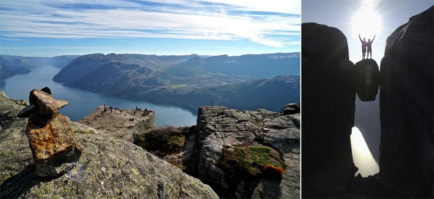 De Kjeragbolten is beslist een uitdaging voor zij die bang hebben van hoogtes! © Andreas Gruhle / visitnorway.com | © Casper Tybjerg / visitnorway.com