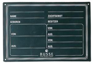 Busse Abstammungstafel PVC