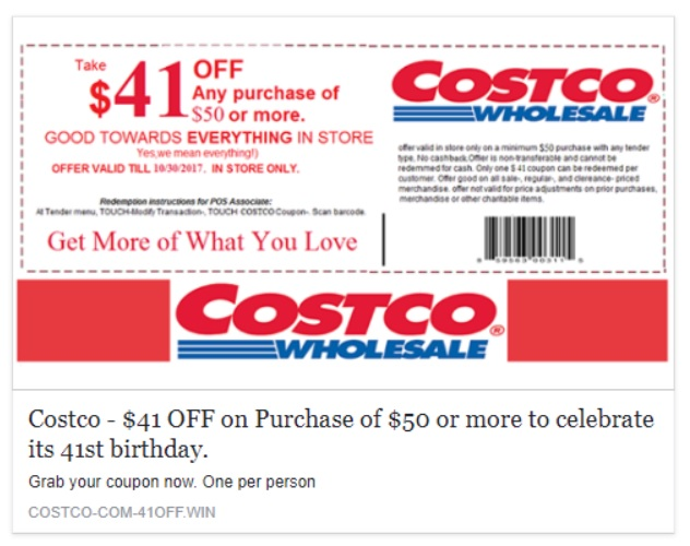 Costco Voucher Scam - 41st Birthday