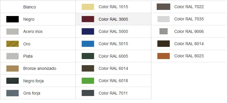 Carta de colores ral básica