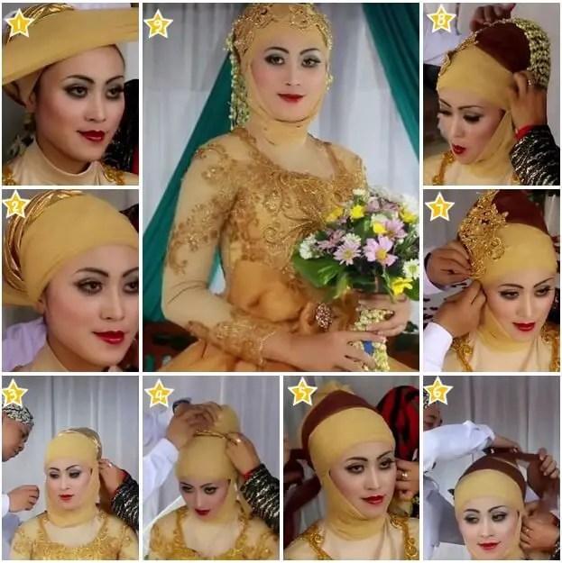 model hijab kebaya pengantin warna kuning