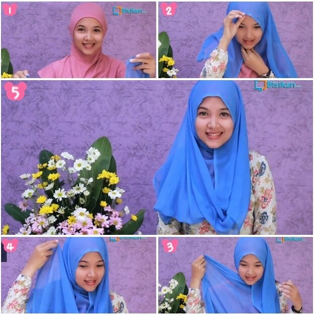 model hijab paris segi empat simple