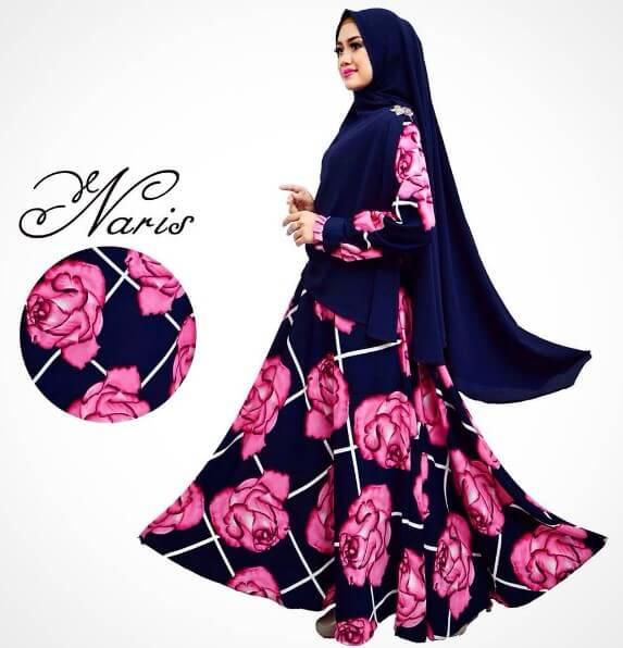 baju gamis syar'i motif bunga