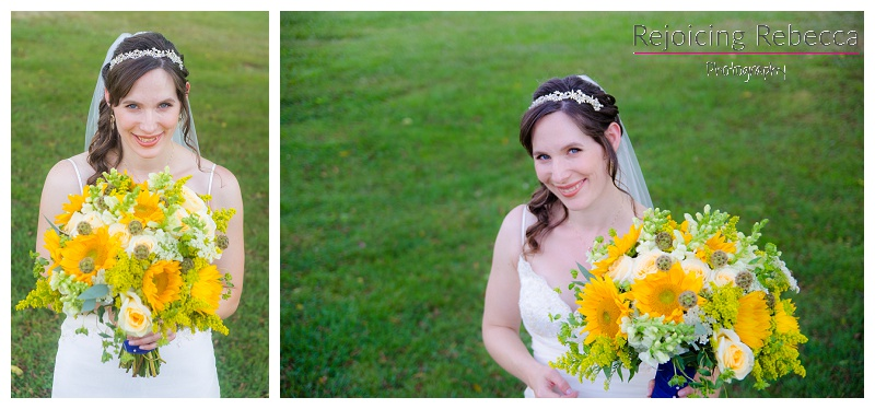 Bride with sunflower bouquet