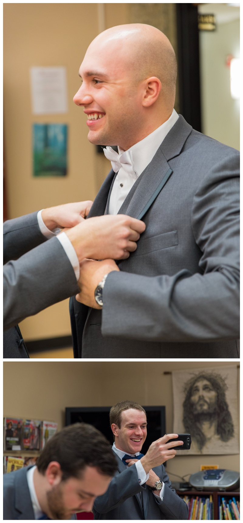 Winter Wedding | Groom getting ready | rejoicingrebecca.com