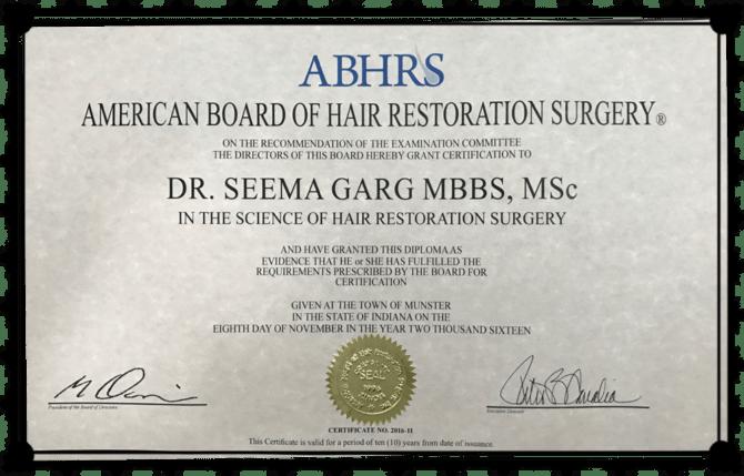 Dr. Seema Garg ABHTS certificate