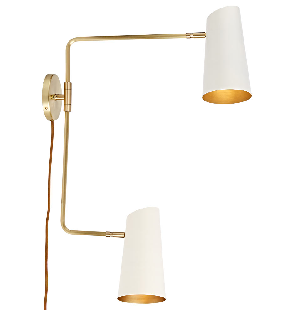 Cypress Double Swing Arm Sconce Plug-In | Rejuvenation on Plugin Wall Sconce Lights id=31476