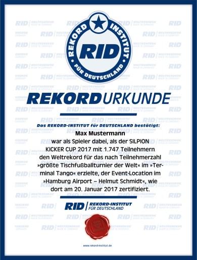 RID-Urkunde-Tischfussballturnier-Max-Mustermann