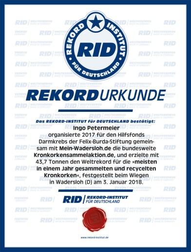 RID-Urkunde-Kronkorkensammlung_2017