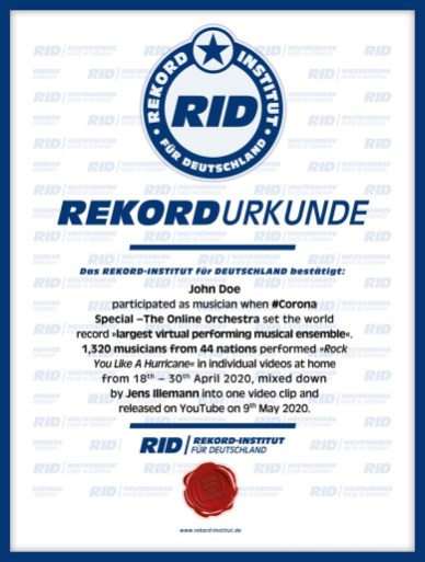 RID-Urkunde-Corona-Orchester-Participants