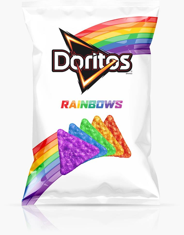 doritos unicorn rainbow chips voor LGTB kids project