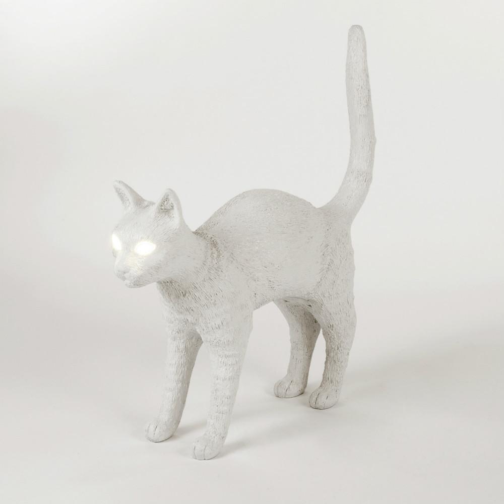 Seletti Cat lamp kat met gouden ballen wit kunstzinnig relatiegeschenk idee