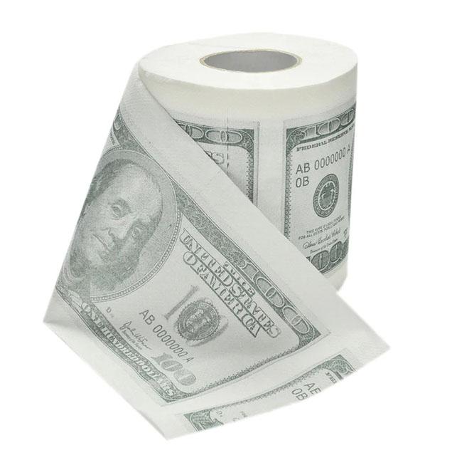 Geld bedrukt dollar Toiletrol bedrukken grapje