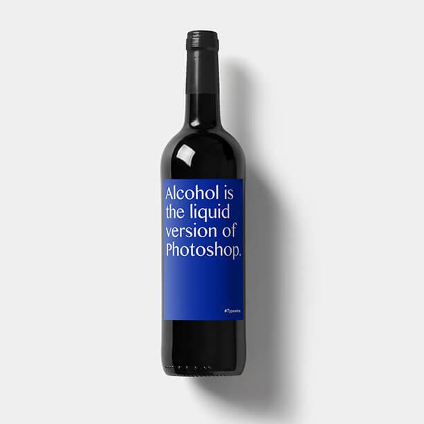 fles wijn eigen etiket relatiegeschenk label tekst alcohol liquid version photoshop