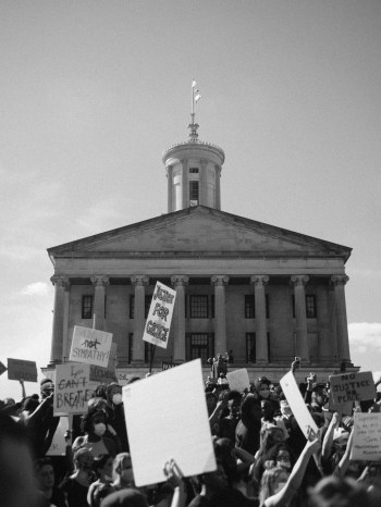 Black Lives Matter protesters rally in front of the Tennessee capitol.