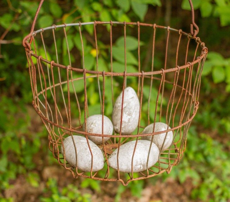 Egg Shaped Stones in Wire Basket