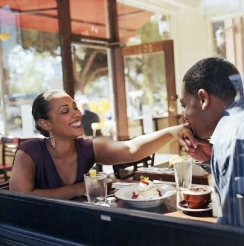 Young man kissing hand of young woman, in cafe